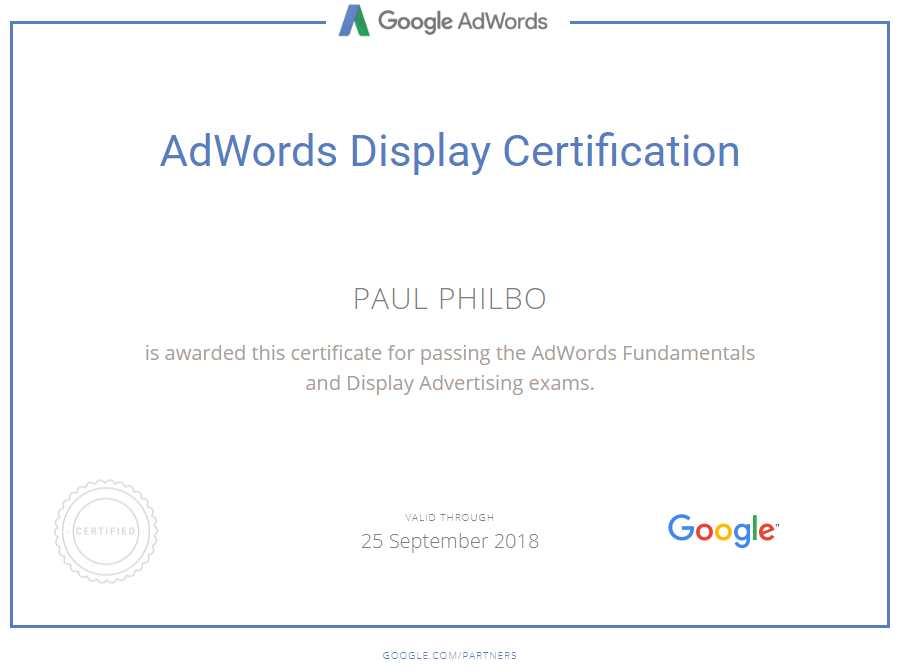 Google Certified AdWords and Display advertising professional