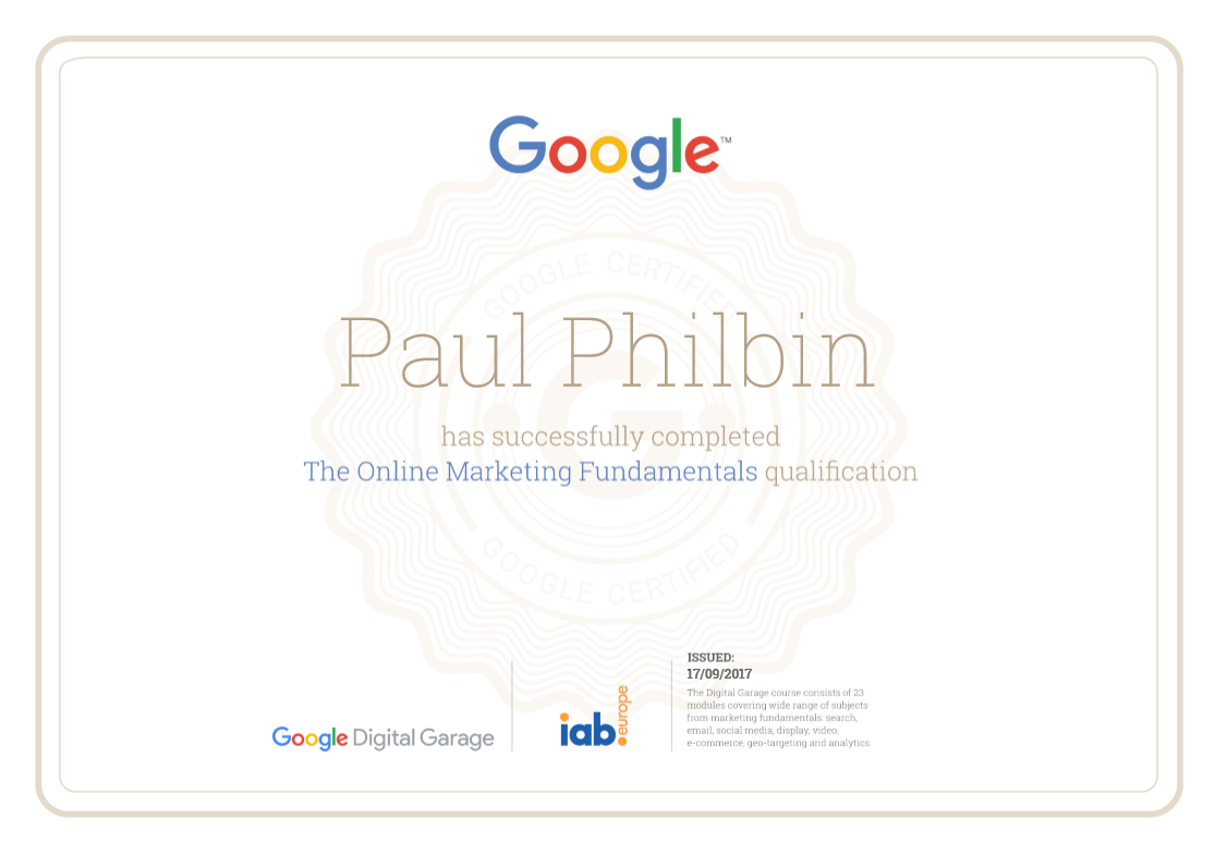 Google Certified Marketing Professional